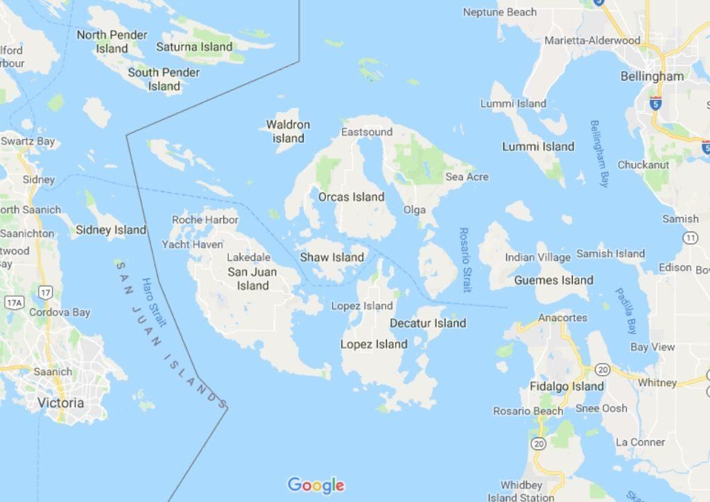 mappa delle san juan islands