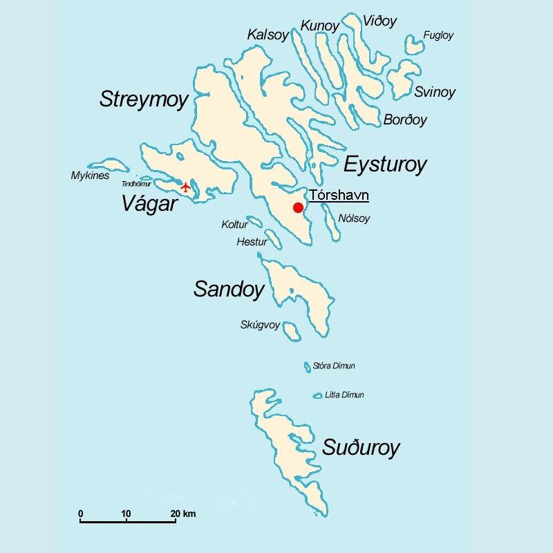 mappa delle isole faroe